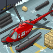 Isometric Arctic Emergency Helicopter in Front View — Stok Vektör