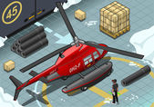 Isometric Arctic Emergency Helicopter in Rear View — Stockvector