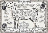Cut of Lamb on Vintage Page — Stockvektor