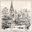 Vintage Hand Drawn View of Old Church in Amsterdam — Stock Vector #41620205