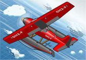 Isometric Artic Hydroplane in Flight in Rear View — Stockvector