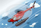 Isometric Arctic Emergency Helicopter in Flight in Front View — Stockvector