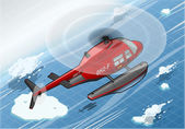 Isometric Arctic Emergency Helicopter in Flight in Rear View  — Stockvector