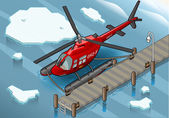 Isometric Arctic Emergency Helicopter at Pier — Stock Vector