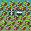 Isometric Roads on Green Terrain — Vector de stock