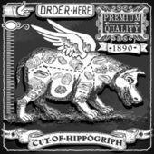 Pizarra vintage de corte de hippogriph — Vector de stock