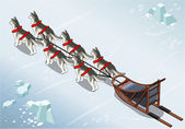 Isometric sled dogs in Rear View on Ice — Vettoriale Stock