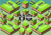 Isometric Roads on Two Levels Terrain — Stock Vector