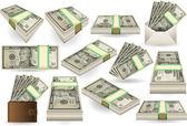 Set of Ten Dollars Banknotes — Stock Vector