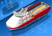 Isometric Icebreaker Ship Isolated in Front View — Stock Vector