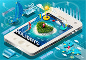 Isometric Holidays Infographic on Mobile Phone — Stock Vector