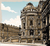 Vintage Hand Drawn View of Opera in Paris — Stok Vektör
