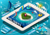 Isometric Holidays Infographic on Tablet — Stock Vector