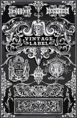 Vintage Hand Drawn Banners and Labels on Blackboard — Stock Vector