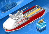 Isometric Icebreaker Ship Isolated in Navigation — Vettoriale Stock
