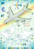 Infographic Set Elements with Airplane — Stock Vector
