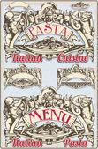 Starodawny element graficzny włoski makaron menu — Wektor stockowy