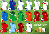 Isometric Uniforms Set of Soccer World Cup — Stock Vector