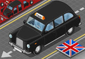 Isometric Black London Taxi in Front View — Stock Vector