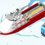 Isometric Icebreaker Ship Breaking the Ice — Stockvector