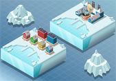 Isometric Arctic Town and Fish Canning Factory — Stock Vector