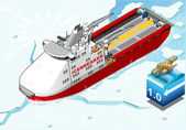 Isometric Icebreaker Ship Breaking the Ice — Stock Vector