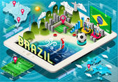 Isometric Infographic of Brazil on Tablet — Stock Vector