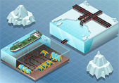 Isometric Arctic Subsea Farm and Tubes — Stock Vector