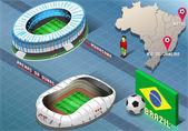 Isometrische stadion van natal en rio de janeiro, brazilië — Stockvector