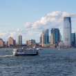NYC Statue of Liberty Ferry before Jersey City Skyline — Stock Photo
