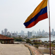 Colombian Flag at Cartagena Skyline — Stock Photo