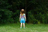 Little girl staring into woods — Stock Photo