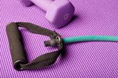 Equipamento do exercício sobre um colchonete de yoga roxo — Foto Stock