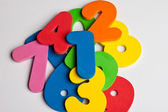 Pile of foam colored numbers — Stockfoto