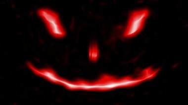 Loopable Scary Abstract face 2 Red Isolated on black — Stock Video #12839080