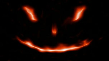 Loopable Scary Abstract face 3 Fire Isolated on black — Stock Video #12839094