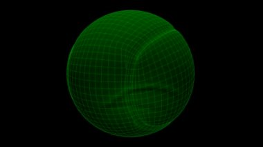 Seamless loop Tennis Ball Wireframe Xray — Stock Video