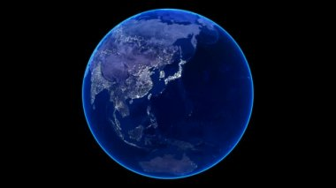 Seamless Loop Earth Animation 18. Night view — 图库视频影像