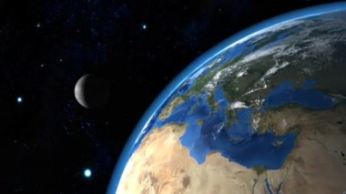 Beautiful Earth with the Moon in the Background — Vídeo de stock