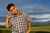 Happy kid showing his hand salute — Stock Photo