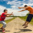 Stock Photo: Kids playing martial arts