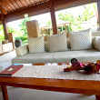 Beautiful spa lounge setting in the tropics - Stok fotoğraf