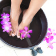 Feminine feet in foot spa bowl with orchids — Stock Photo