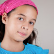 Beautiful girl of European and Asian parentage with pink bandanna. — Stock Photo