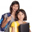 Stock Photo: Two pretty sisters wit folders, files and bags ready for school