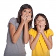 Two sisters with a shock expression — Stock Photo