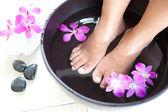 Pies femenino en pie bowl spa con orquídeas — Foto de Stock