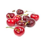 Fresh ripened red cherries over white background — Stock Photo