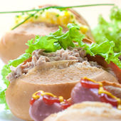 Closeup image of assorted roll sandwiches with lettuce — Stock Photo