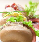 Assorted roll sandwiches with different filling — Stock Photo